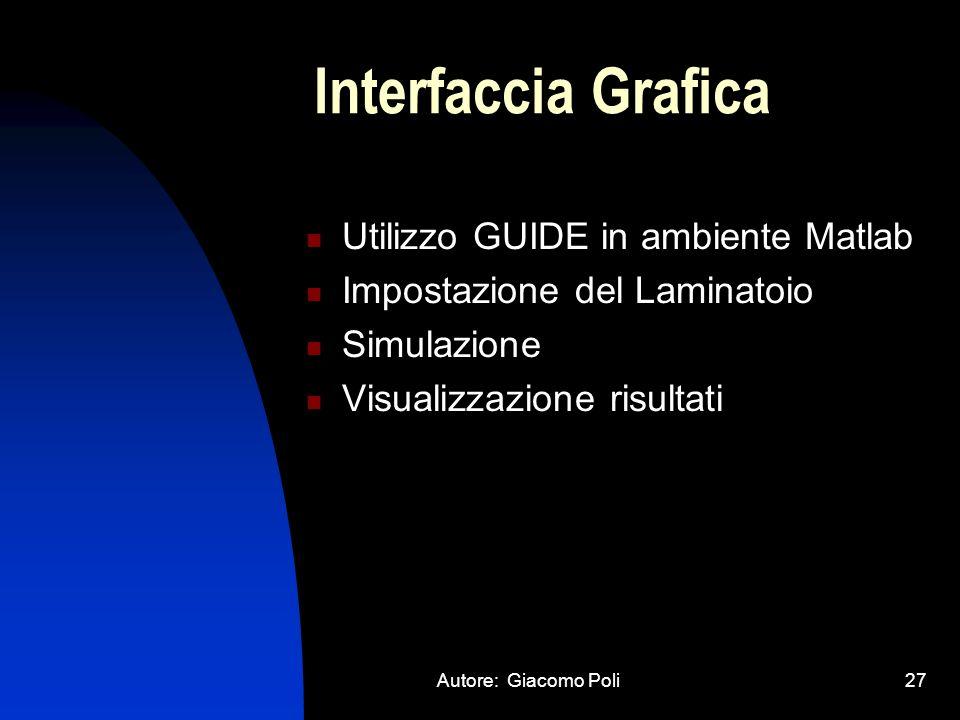 Autore: Giacomo Poli27 Interfaccia Grafica Utilizzo GUIDE in ambiente Matlab Impostazione del Laminatoio Simulazione Visualizzazione risultati