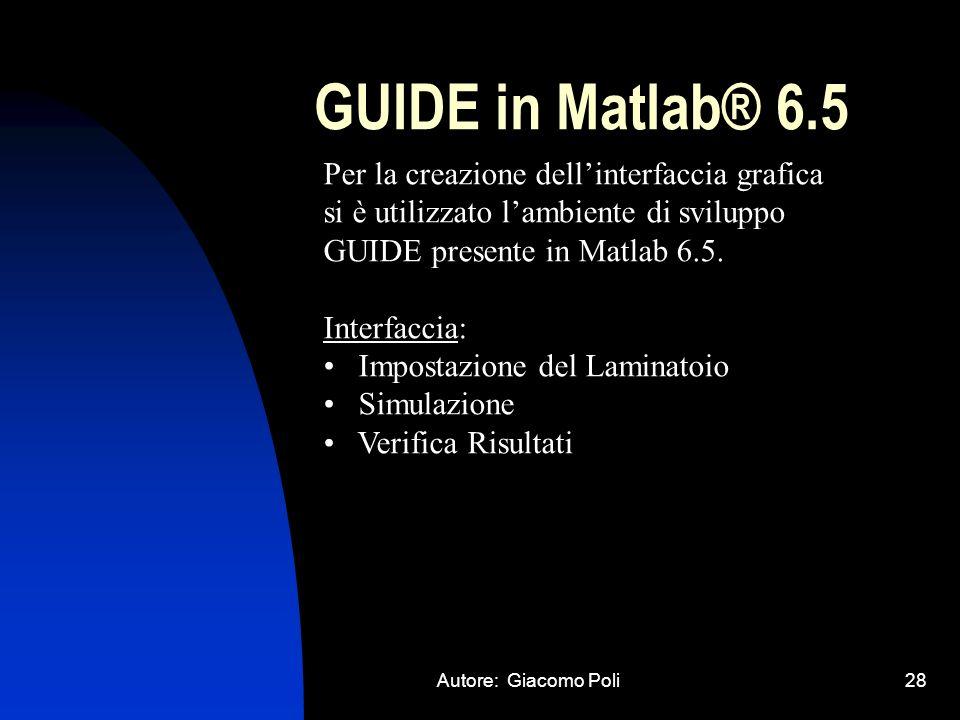 Autore: Giacomo Poli28 GUIDE in Matlab® 6.5 Per la creazione dellinterfaccia grafica si è utilizzato lambiente di sviluppo GUIDE presente in Matlab 6.