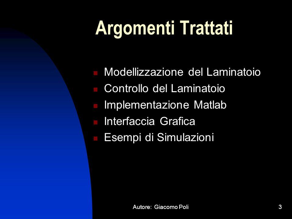 Autore: Giacomo Poli3 Argomenti Trattati Modellizzazione del Laminatoio Controllo del Laminatoio Implementazione Matlab Interfaccia Grafica Esempi di