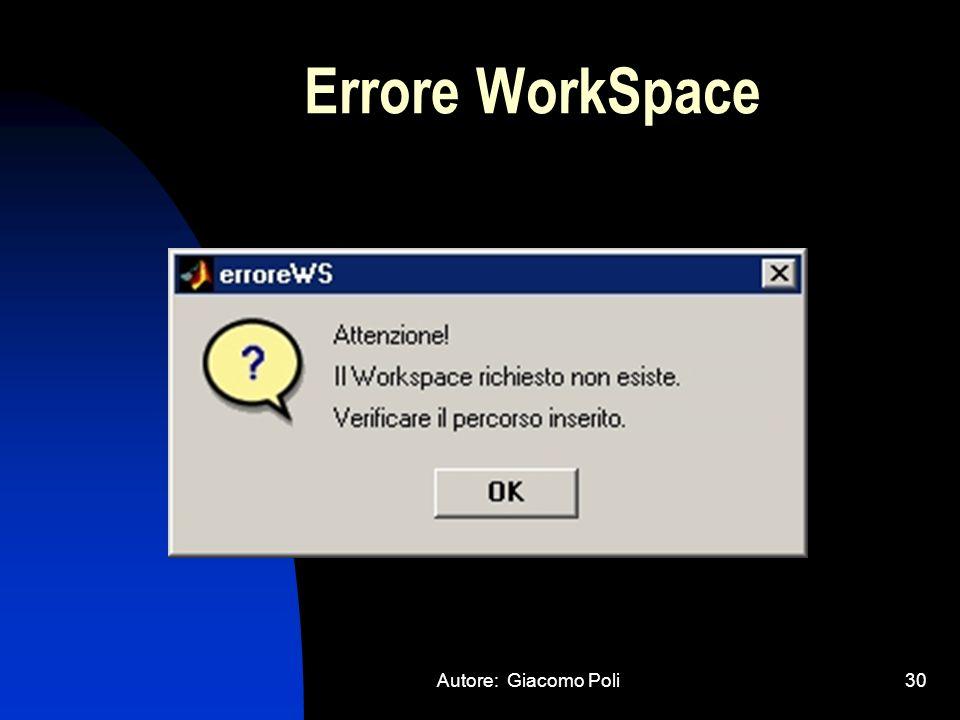 Autore: Giacomo Poli30 Errore WorkSpace