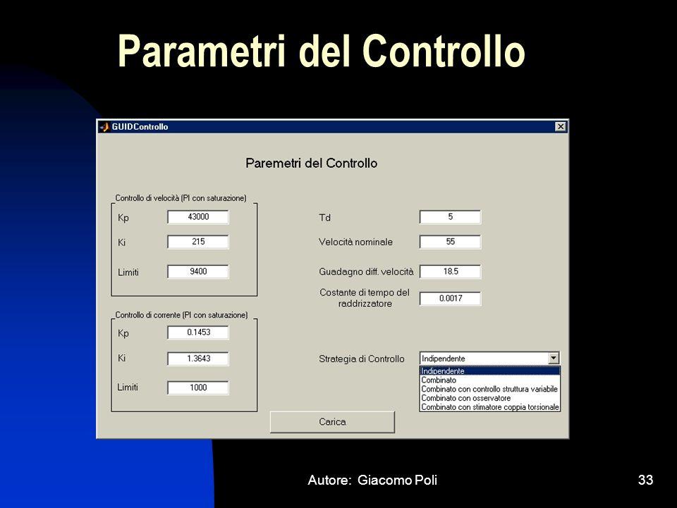 Autore: Giacomo Poli33 Parametri del Controllo