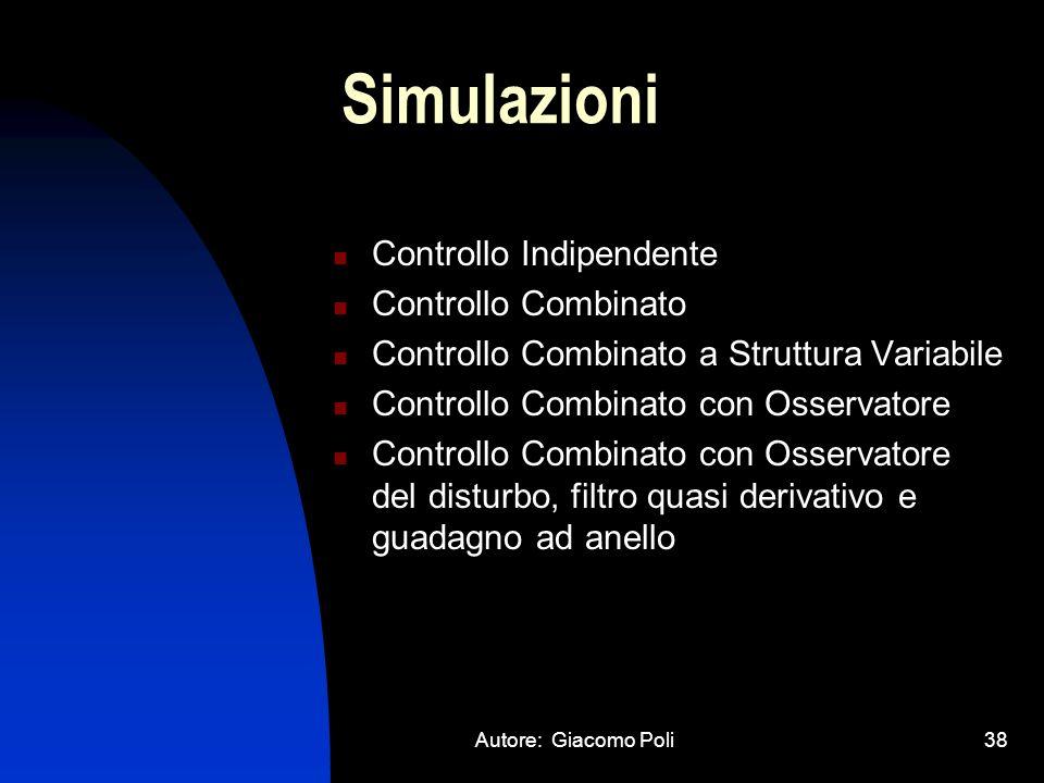 Autore: Giacomo Poli38 Simulazioni Controllo Indipendente Controllo Combinato Controllo Combinato a Struttura Variabile Controllo Combinato con Osserv