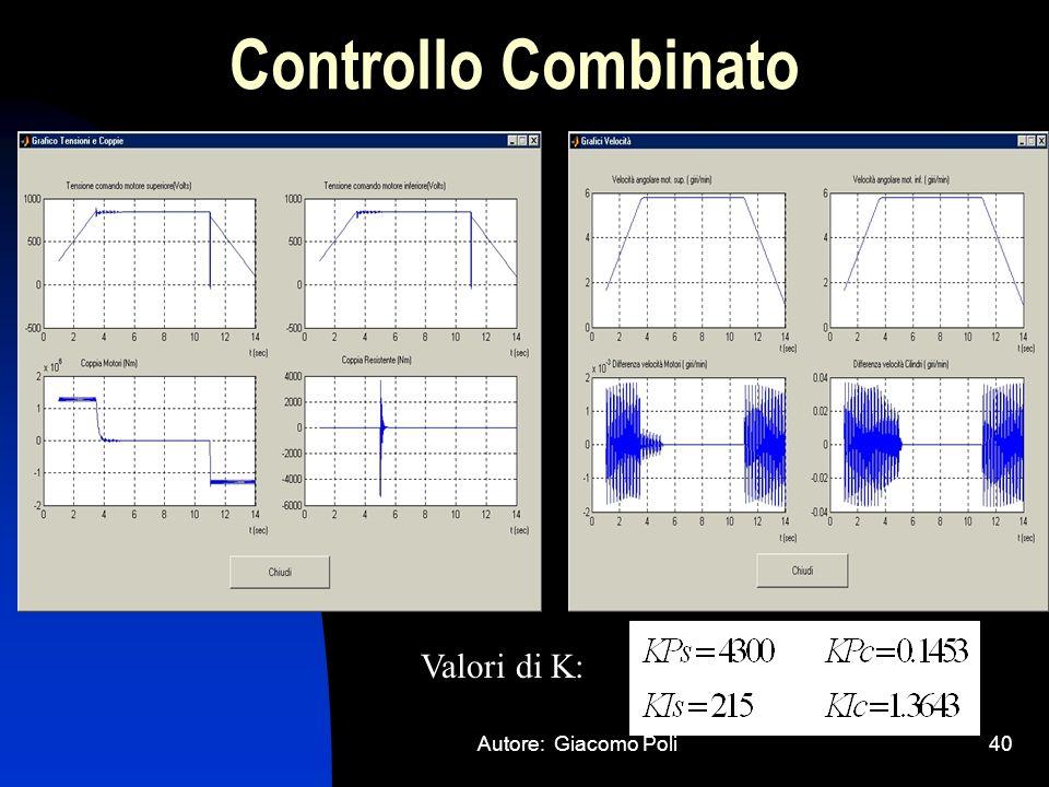 Autore: Giacomo Poli40 Controllo Combinato Valori di K: