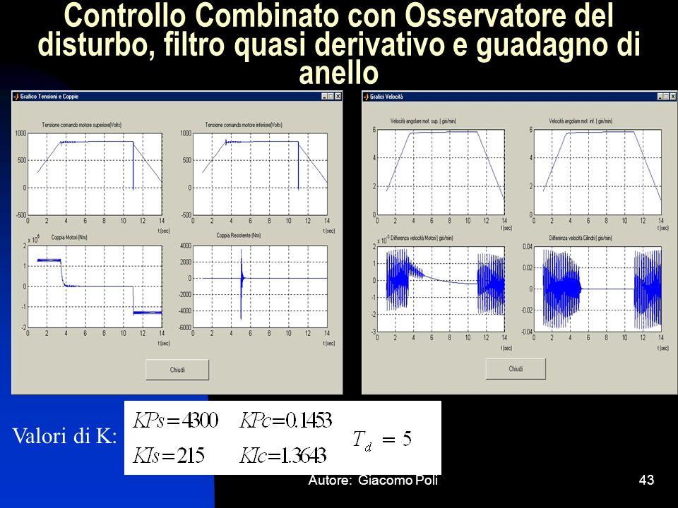 Autore: Giacomo Poli43 Controllo Combinato con Osservatore del disturbo, filtro quasi derivativo e guadagno di anello Valori di K: