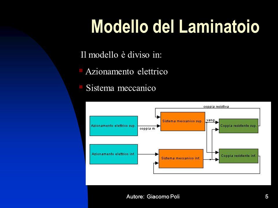 Autore: Giacomo Poli5 Modello del Laminatoio Il modello è diviso in: Azionamento elettrico Sistema meccanico