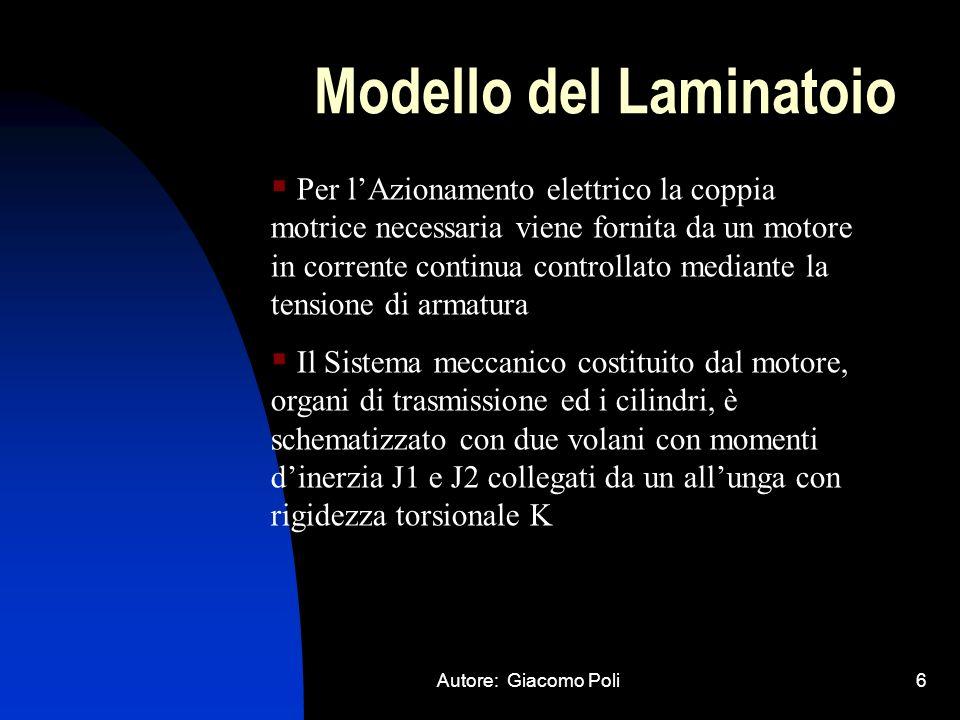 Autore: Giacomo Poli6 Modello del Laminatoio Per lAzionamento elettrico la coppia motrice necessaria viene fornita da un motore in corrente continua c