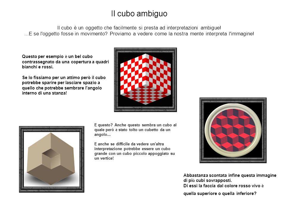 Questo per esempio è un bel cubo contrassegnato da una copertura a quadri bianchi e rossi. Se lo fissiamo per un attimo però il cubo potrebbe sparire