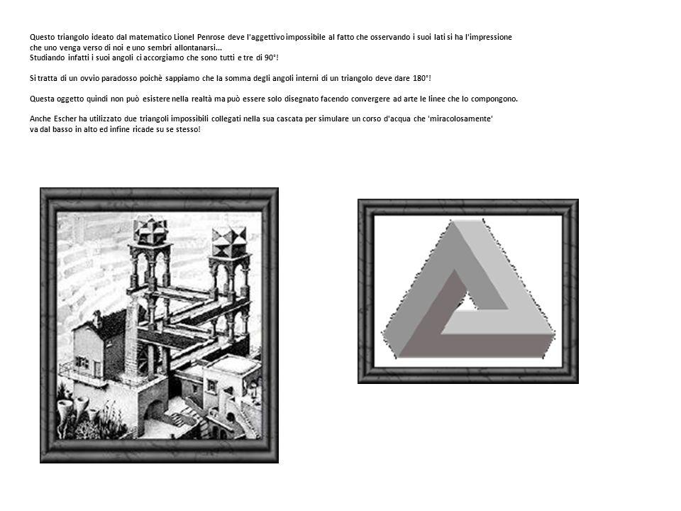 Questo triangolo ideato dal matematico Lionel Penrose deve l'aggettivo impossibile al fatto che osservando i suoi lati si ha l'impressione che uno ven