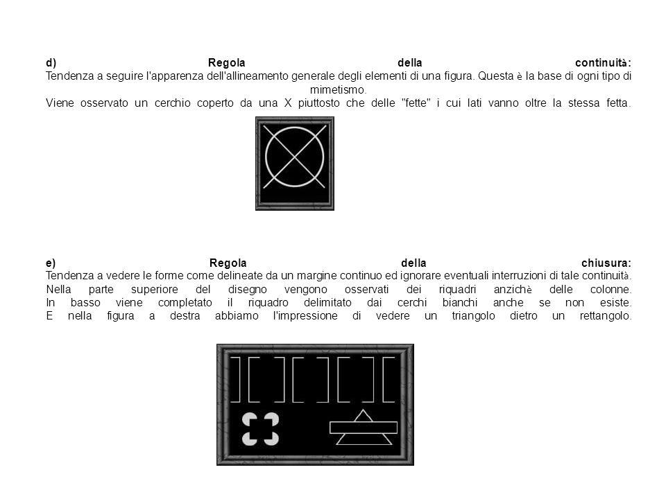 d) Regola della continuit à : Tendenza a seguire l'apparenza dell'allineamento generale degli elementi di una figura. Questa è la base di ogni tipo di