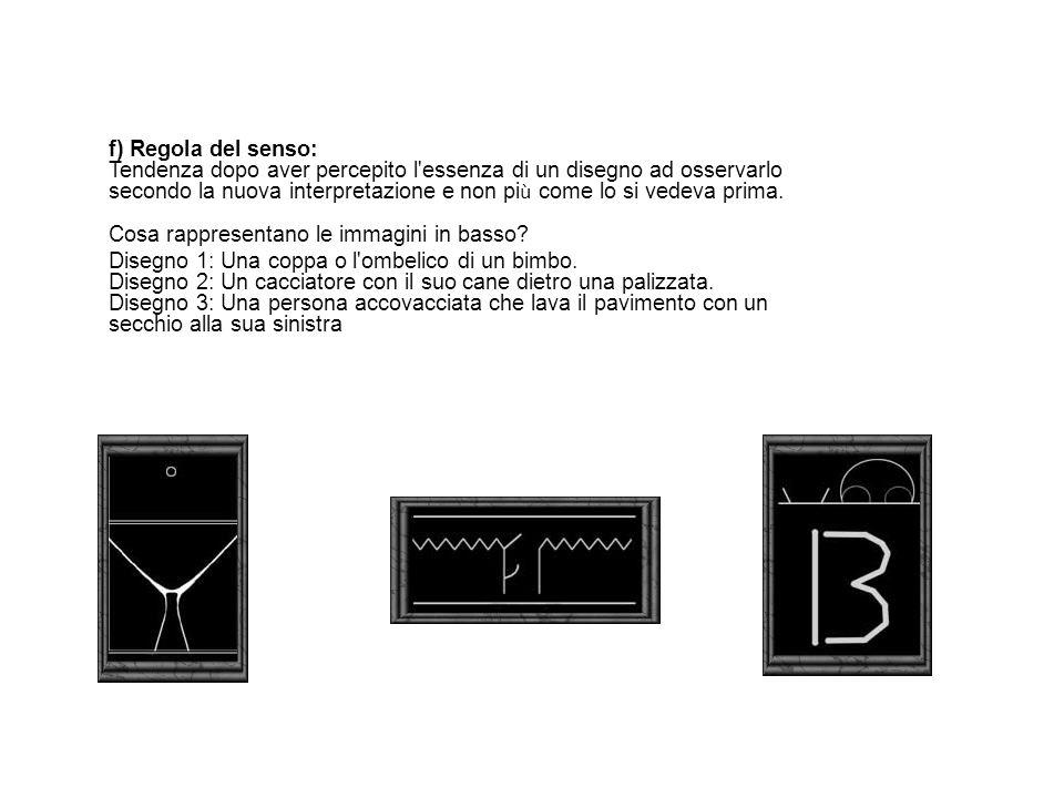 f) Regola del senso: Tendenza dopo aver percepito l'essenza di un disegno ad osservarlo secondo la nuova interpretazione e non pi ù come lo si vedeva