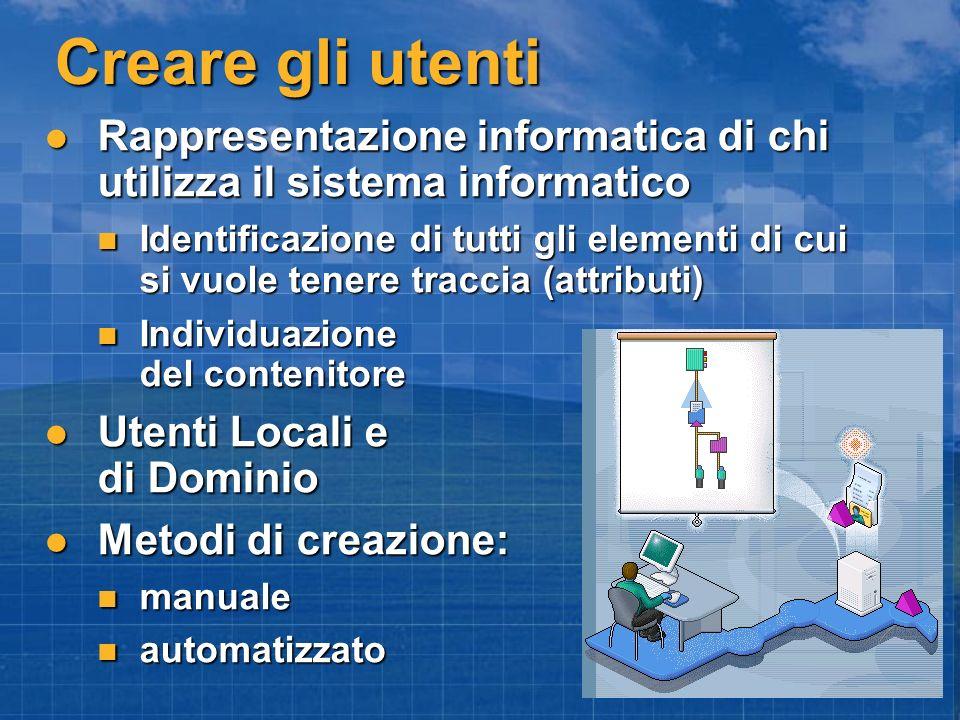 Creare gli utenti Rappresentazione informatica di chi utilizza il sistema informatico Rappresentazione informatica di chi utilizza il sistema informat
