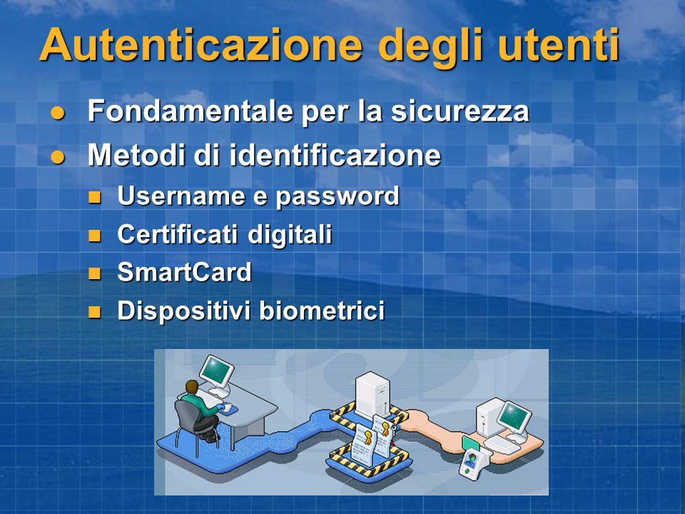 Autenticazione degli utenti Fondamentale per la sicurezza Fondamentale per la sicurezza Metodi di identificazione Metodi di identificazione Username e
