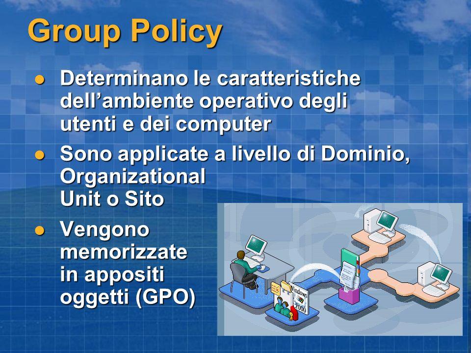 Group Policy Determinano le caratteristiche dellambiente operativo degli utenti e dei computer Determinano le caratteristiche dellambiente operativo d