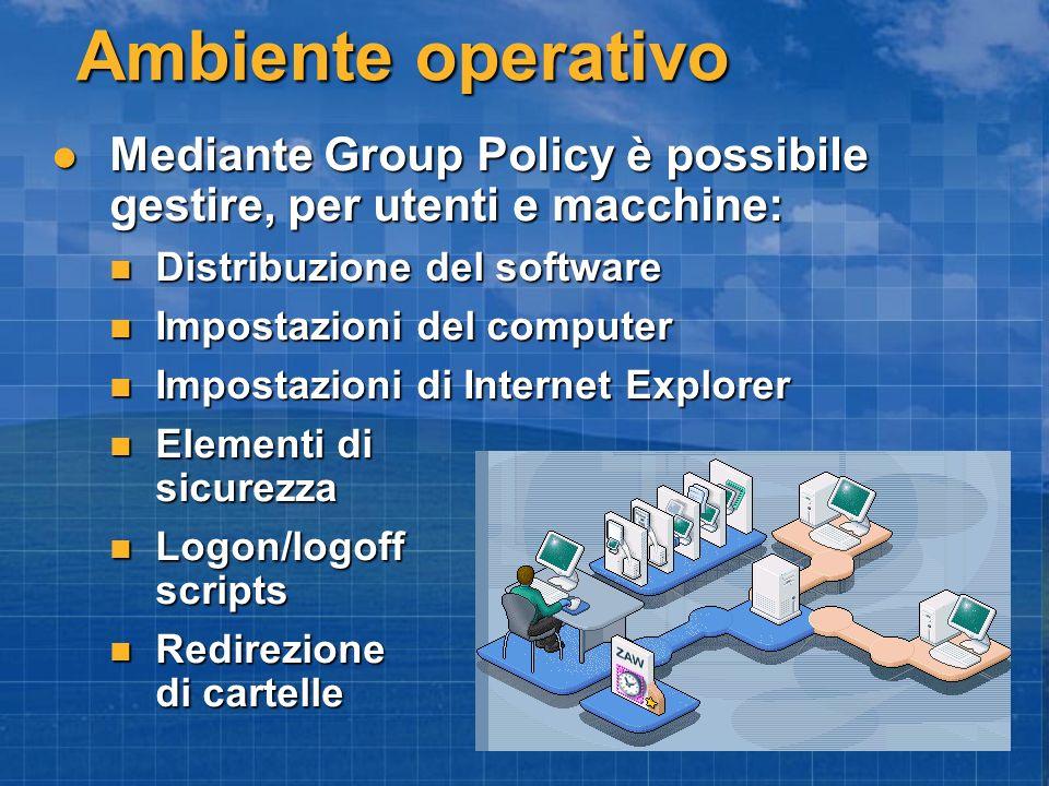 Mediante Group Policy è possibile gestire, per utenti e macchine: Mediante Group Policy è possibile gestire, per utenti e macchine: Distribuzione del