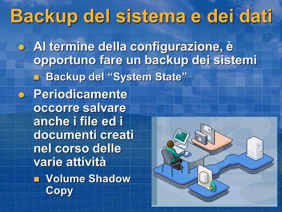 Backup del sistema e dei dati Al termine della configurazione, è opportuno fare un backup dei sistemi Al termine della configurazione, è opportuno far