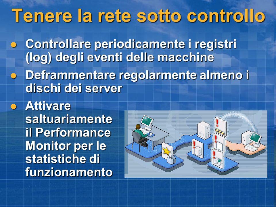 Tenere la rete sotto controllo Controllare periodicamente i registri (log) degli eventi delle macchine Controllare periodicamente i registri (log) deg