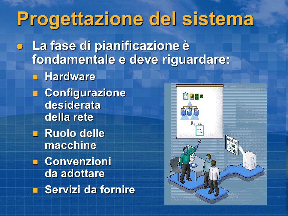 Progettazione del sistema La fase di pianificazione è fondamentale e deve riguardare: La fase di pianificazione è fondamentale e deve riguardare: Hard