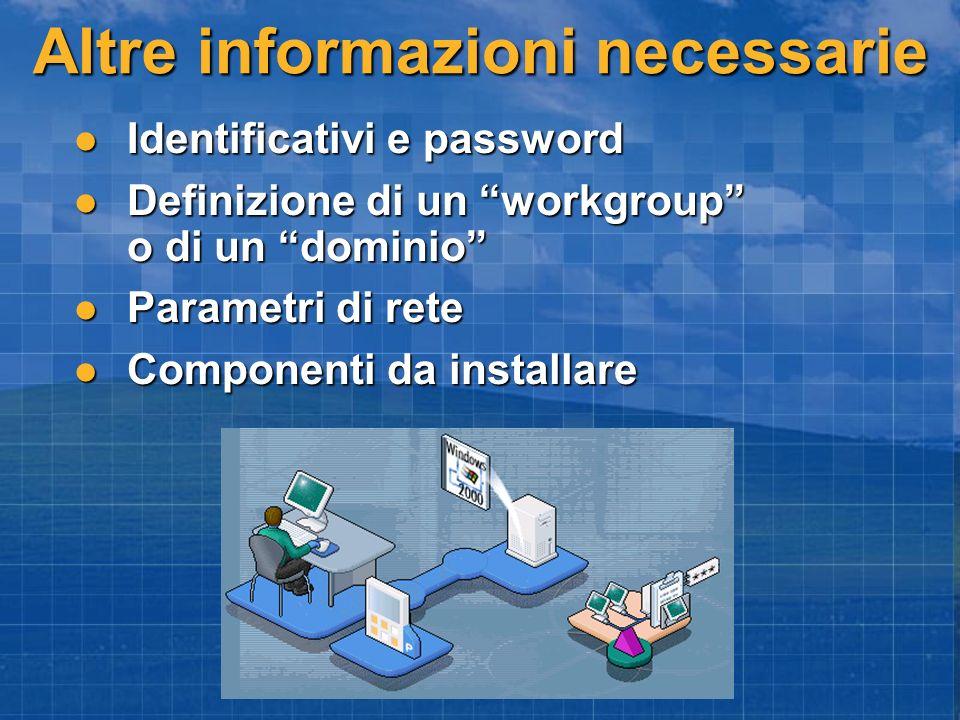 Altre informazioni necessarie Identificativi e password Identificativi e password Definizione di un workgroup o di un dominio Definizione di un workgr