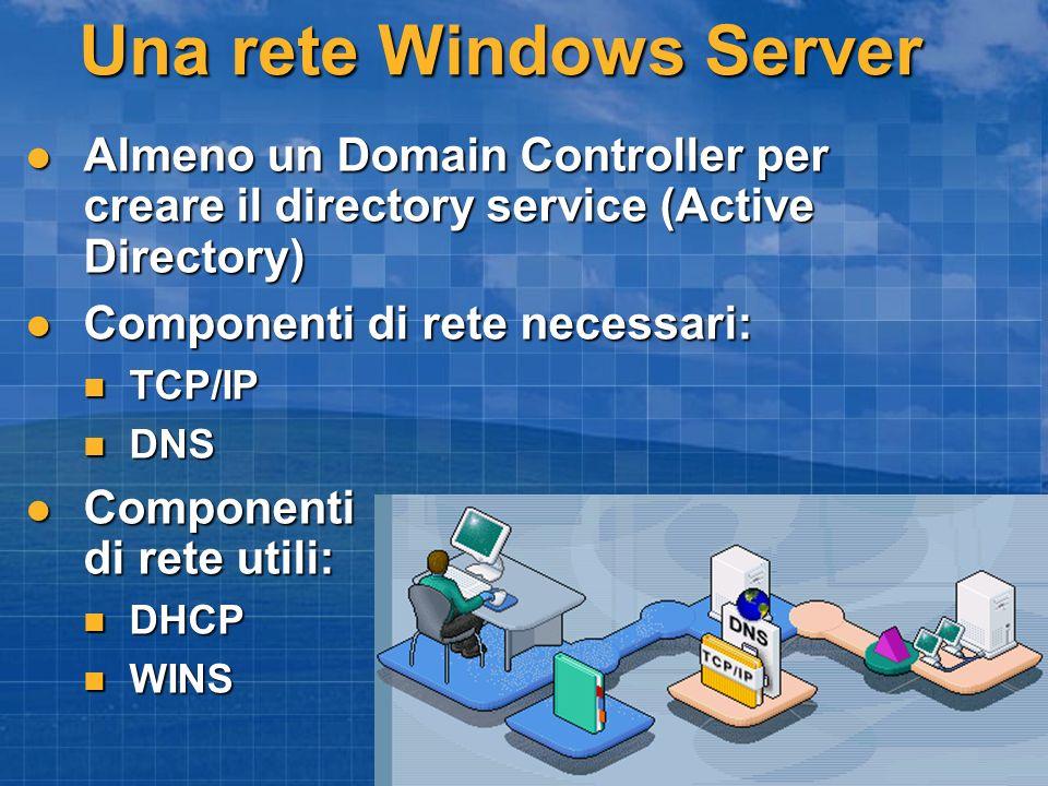 Una rete Windows Server Almeno un Domain Controller per creare il directory service (Active Directory) Almeno un Domain Controller per creare il direc