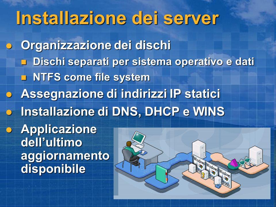 Installazione dei server Organizzazione dei dischi Organizzazione dei dischi Dischi separati per sistema operativo e dati Dischi separati per sistema