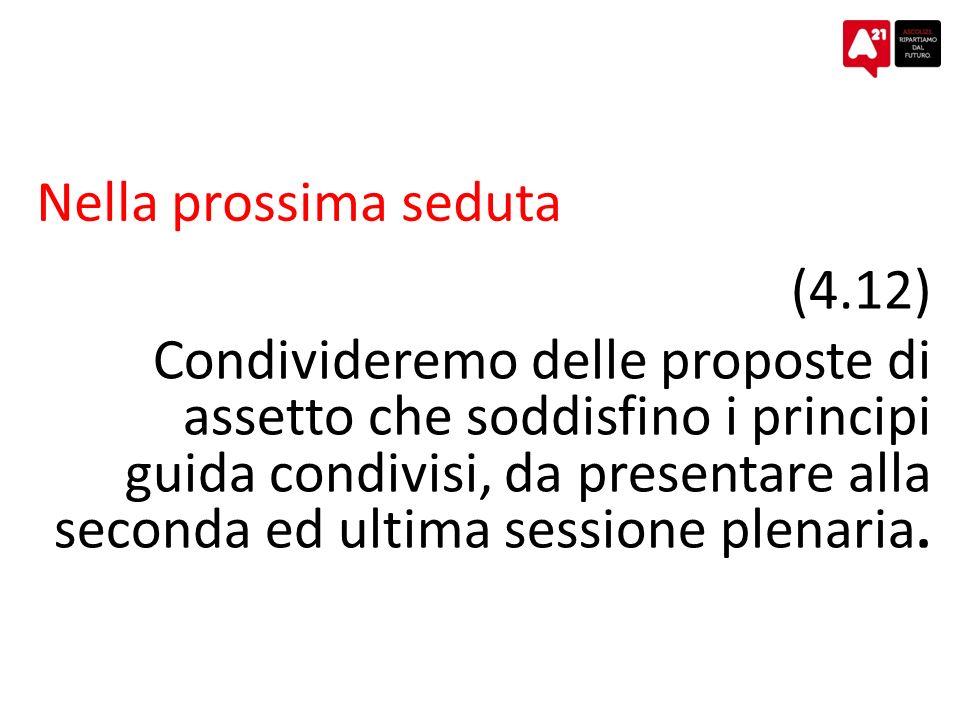 Nella prossima seduta (4.12) Condivideremo delle proposte di assetto che soddisfino i principi guida condivisi, da presentare alla seconda ed ultima sessione plenaria.