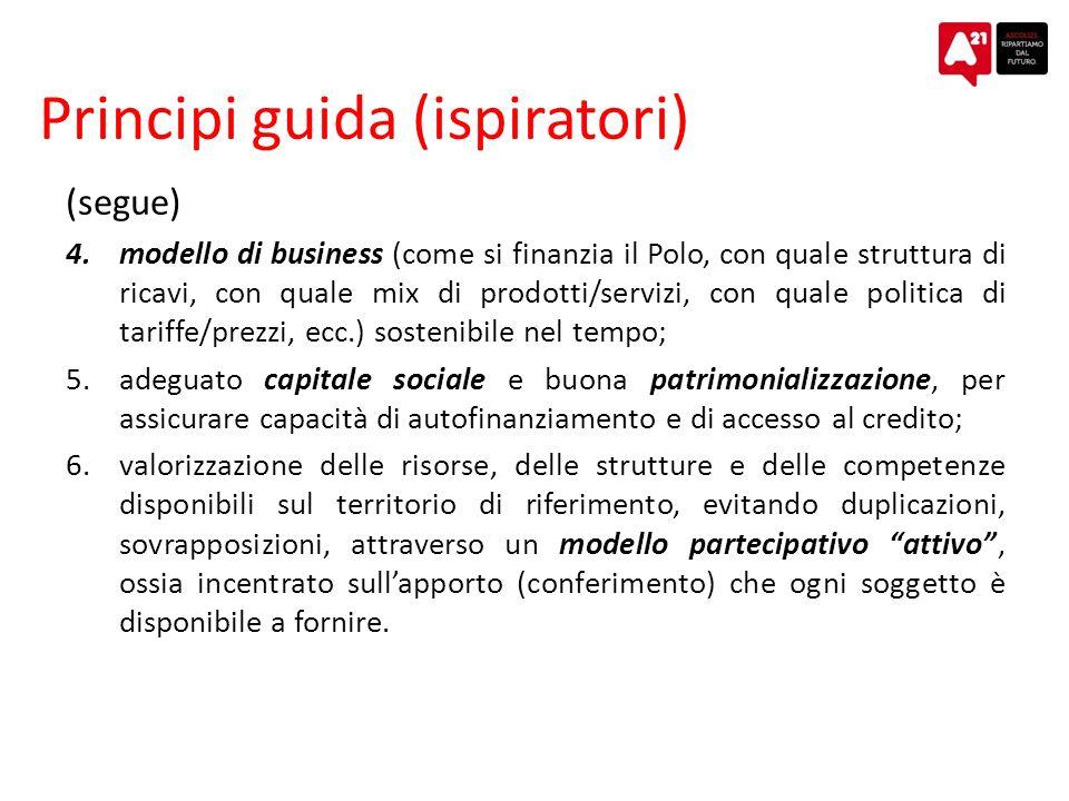 Principi guida (ispiratori) (segue) 4.modello di business (come si finanzia il Polo, con quale struttura di ricavi, con quale mix di prodotti/servizi, con quale politica di tariffe/prezzi, ecc.) sostenibile nel tempo; 5.adeguato capitale sociale e buona patrimonializzazione, per assicurare capacità di autofinanziamento e di accesso al credito; 6.valorizzazione delle risorse, delle strutture e delle competenze disponibili sul territorio di riferimento, evitando duplicazioni, sovrapposizioni, attraverso un modello partecipativo attivo, ossia incentrato sullapporto (conferimento) che ogni soggetto è disponibile a fornire.