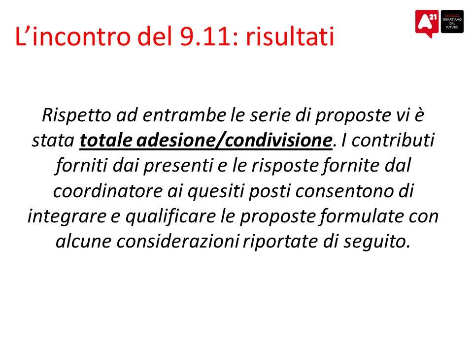 Lincontro del 9.11: risultati Rispetto ad entrambe le serie di proposte vi è stata totale adesione/condivisione.