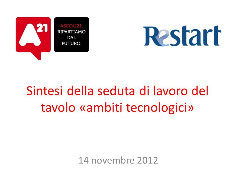 Sintesi della seduta di lavoro del tavolo «ambiti tecnologici» 14 novembre 2012
