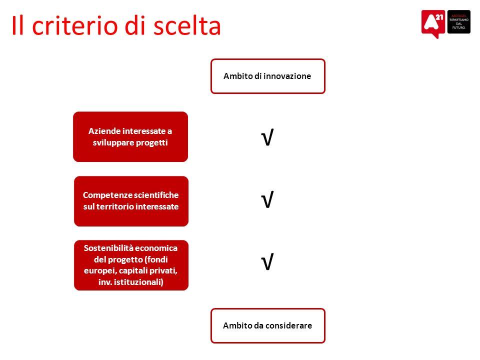 Il criterio di scelta Aziende interessate a sviluppare progetti Ambito di innovazione Competenze scientifiche sul territorio interessate Sostenibilità economica del progetto (fondi europei, capitali privati, inv.
