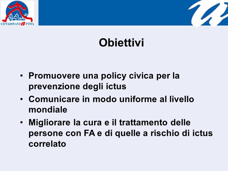 Obiettivi Promuovere una policy civica per la prevenzione degli ictus Comunicare in modo uniforme al livello mondiale Migliorare la cura e il trattamento delle persone con FA e di quelle a rischio di ictus correlato