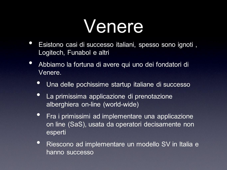 Venere Esistono casi di successo italiani, spesso sono ignoti, Logitech, Funabol e altri Abbiamo la fortuna di avere qui uno dei fondatori di Venere.