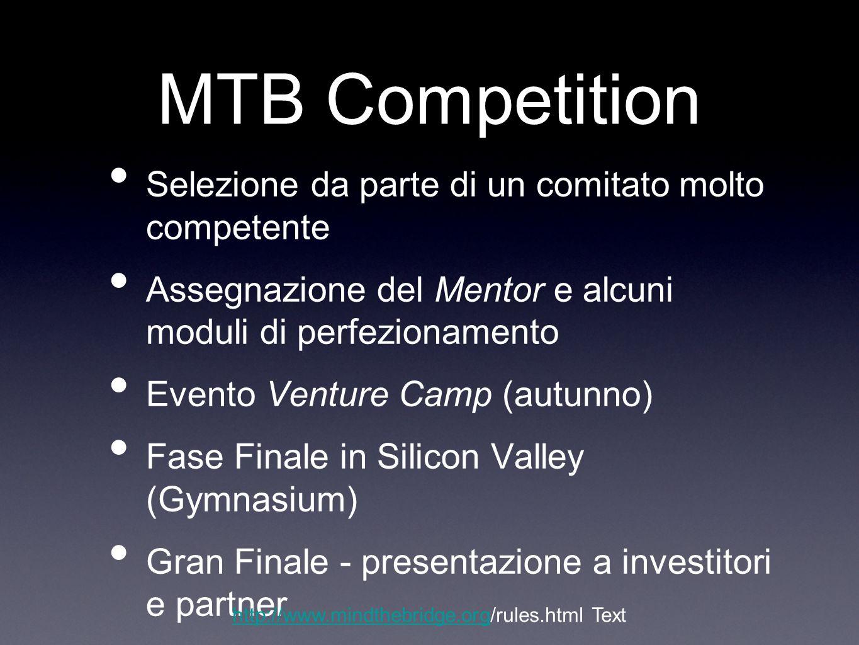MTB Competition Selezione da parte di un comitato molto competente Assegnazione del Mentor e alcuni moduli di perfezionamento Evento Venture Camp (aut