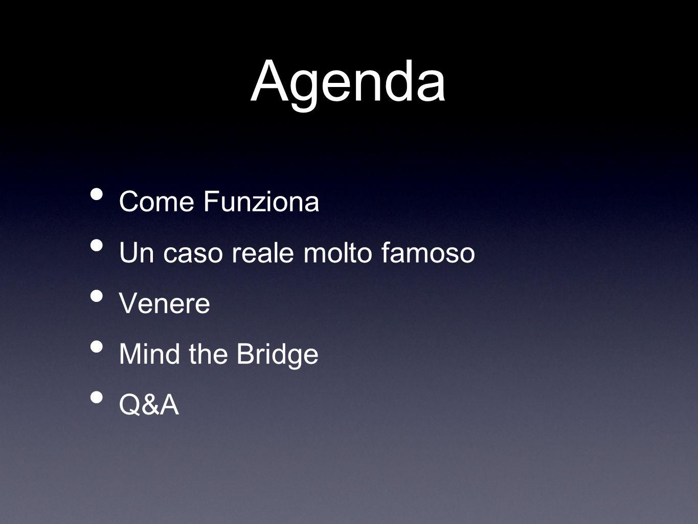 Agenda Come Funziona Un caso reale molto famoso Venere Mind the Bridge Q&A