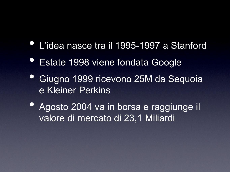 Lidea nasce tra il 1995-1997 a Stanford Estate 1998 viene fondata Google Giugno 1999 ricevono 25M da Sequoia e Kleiner Perkins Agosto 2004 va in borsa