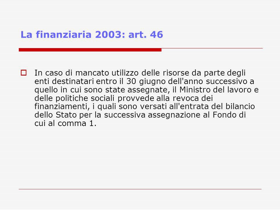 La finanziaria 2003: art. 46 In caso di mancato utilizzo delle risorse da parte degli enti destinatari entro il 30 giugno dell'anno successivo a quell