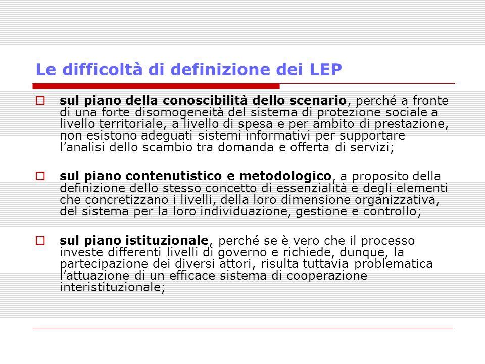 Le difficoltà di definizione dei LEP sul piano della conoscibilità dello scenario, perché a fronte di una forte disomogeneità del sistema di protezion