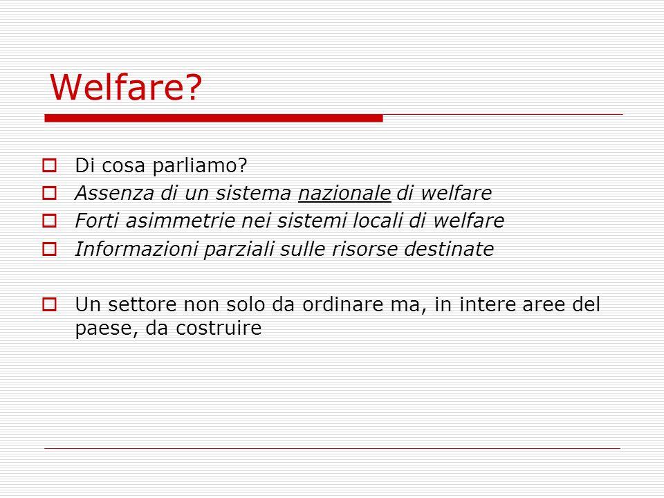 Welfare? Di cosa parliamo? Assenza di un sistema nazionale di welfare Forti asimmetrie nei sistemi locali di welfare Informazioni parziali sulle risor