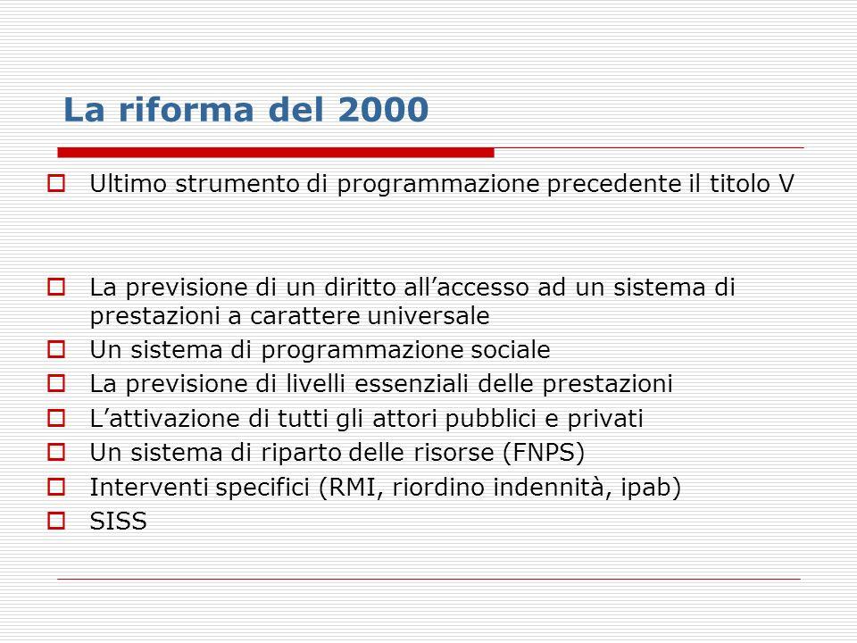La riforma del 2000 Ultimo strumento di programmazione precedente il titolo V La previsione di un diritto allaccesso ad un sistema di prestazioni a ca