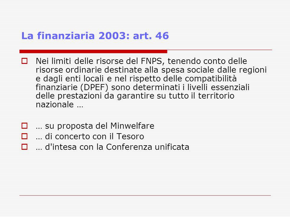 La finanziaria 2003: art. 46 Nei limiti delle risorse del FNPS, tenendo conto delle risorse ordinarie destinate alla spesa sociale dalle regioni e dag