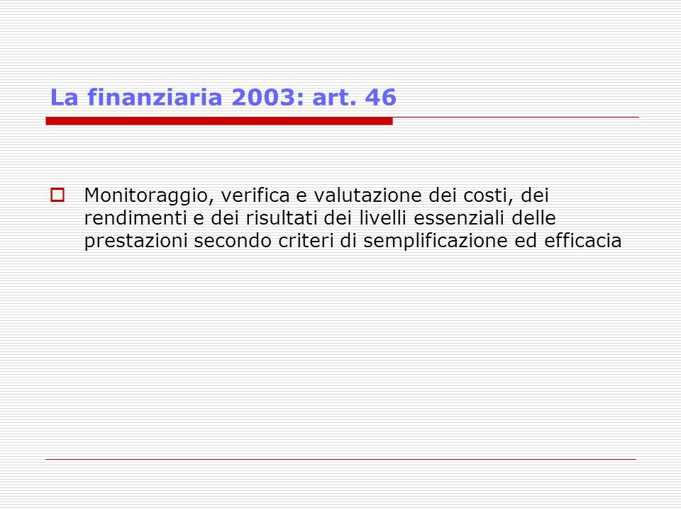 La finanziaria 2003: art. 46 Monitoraggio, verifica e valutazione dei costi, dei rendimenti e dei risultati dei livelli essenziali delle prestazioni s