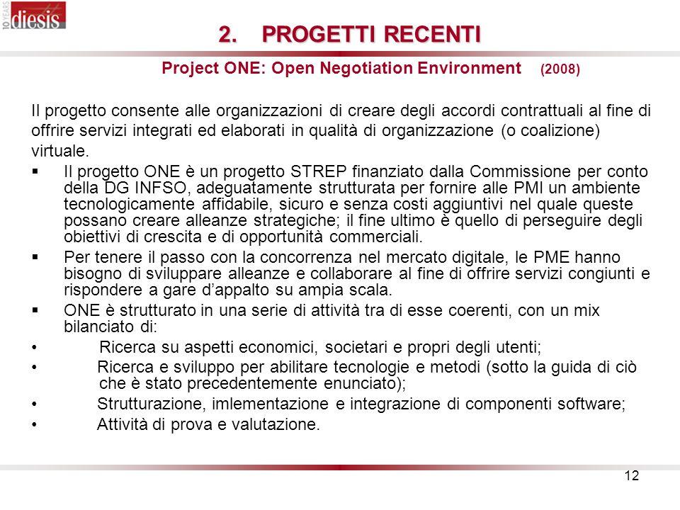 12 2.PROGETTI RECENTI 2.PROGETTI RECENTI Project ONE: Open Negotiation Environment (2008) Il progetto consente alle organizzazioni di creare degli accordi contrattuali al fine di offrire servizi integrati ed elaborati in qualità di organizzazione (o coalizione) virtuale.