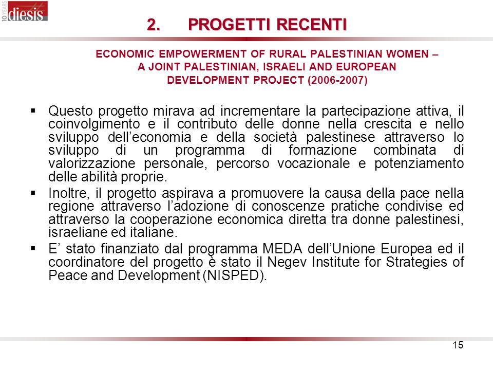 15 2.PROGETTI RECENTI 2.PROGETTI RECENTI ECONOMIC EMPOWERMENT OF RURAL PALESTINIAN WOMEN – A JOINT PALESTINIAN, ISRAELI AND EUROPEAN DEVELOPMENT PROJECT (2006-2007) Questo progetto mirava ad incrementare la partecipazione attiva, il coinvolgimento e il contributo delle donne nella crescita e nello sviluppo delleconomia e della società palestinese attraverso lo sviluppo di un programma di formazione combinata di valorizzazione personale, percorso vocazionale e potenziamento delle abilità proprie.