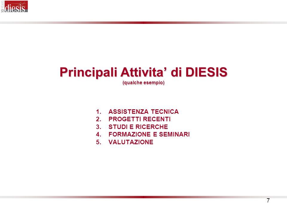 7 Principali Attivita di DIESIS (qualche esempio) 1.