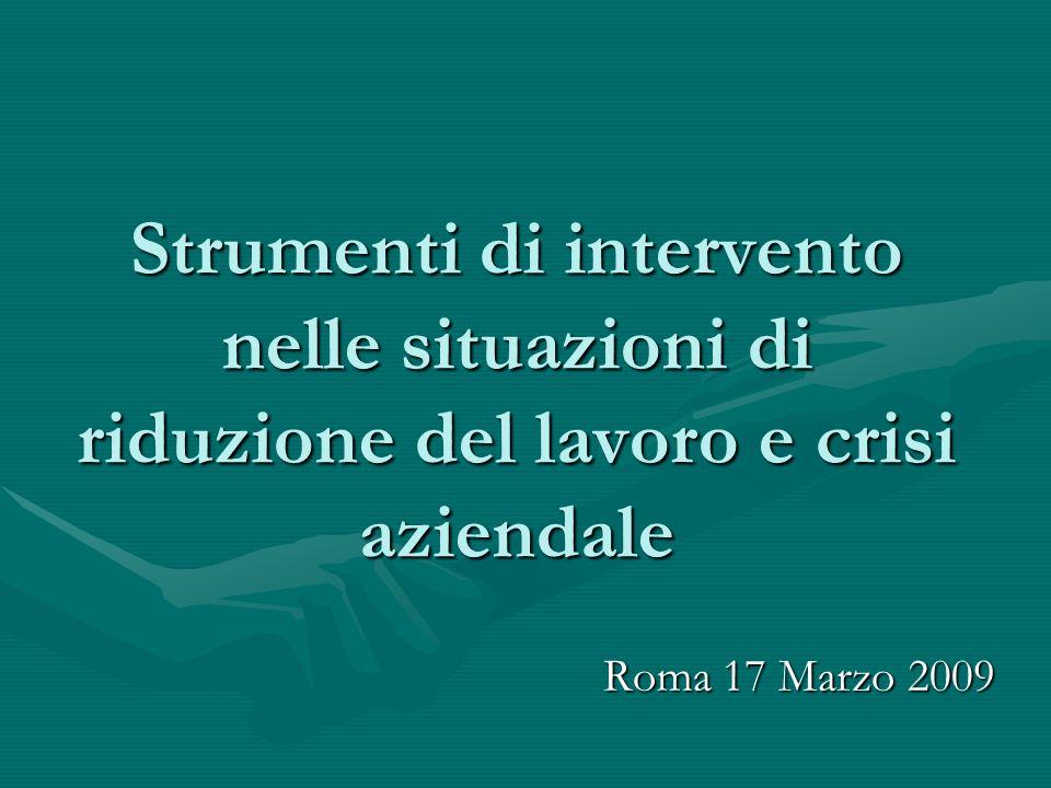 Strumenti di intervento nelle situazioni di riduzione del lavoro e crisi aziendale Roma 17 Marzo 2009