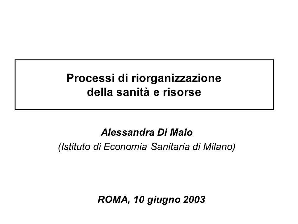 Processi di riorganizzazione della sanità e risorse Alessandra Di Maio (Istituto di Economia Sanitaria di Milano) ROMA, 10 giugno 2003