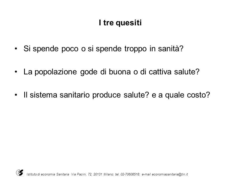 I tre quesiti Si spende poco o si spende troppo in sanità? La popolazione gode di buona o di cattiva salute? Il sistema sanitario produce salute? e a
