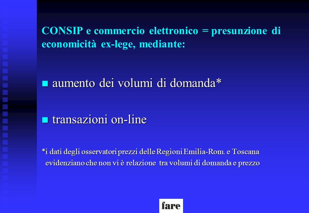CONSIP e commercio elettronico = presunzione di economicità ex-lege, mediante: n aumento dei volumi di domanda* n transazioni on-line *i dati degli os