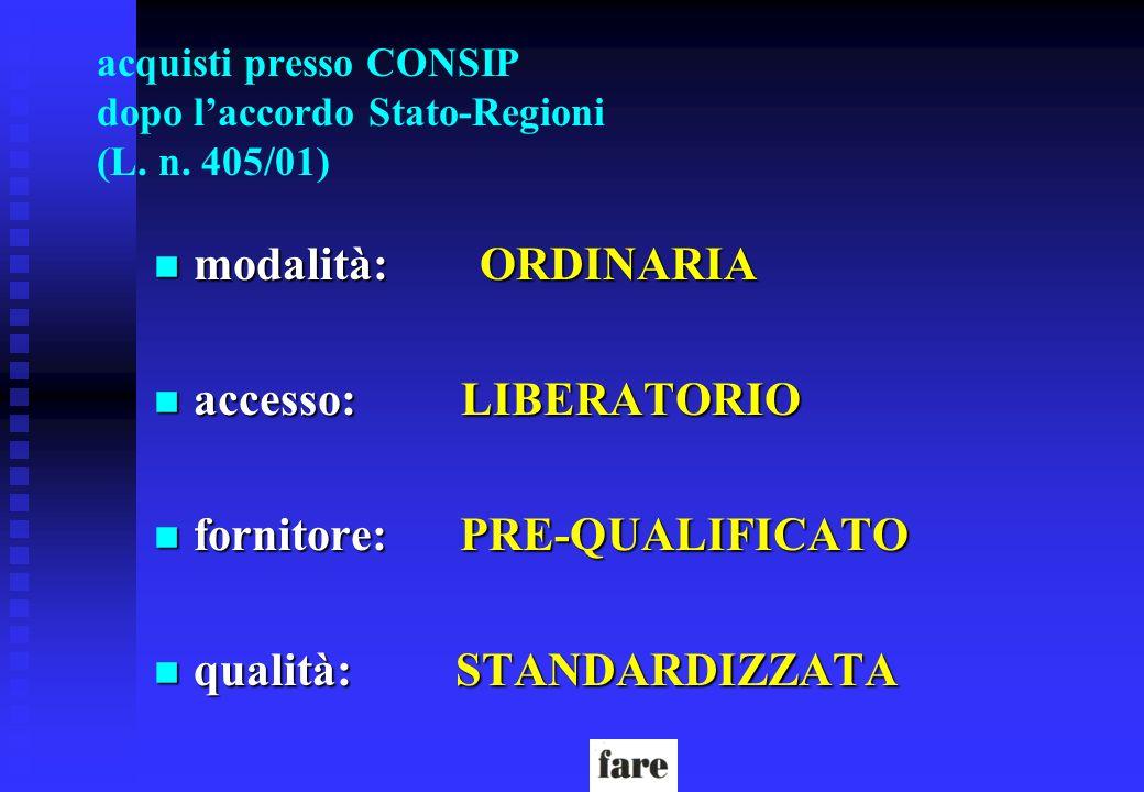 acquisti presso CONSIP dopo laccordo Stato-Regioni (L. n. 405/01) n modalità: ORDINARIA n accesso: LIBERATORIO n fornitore: PRE-QUALIFICATO n qualità: