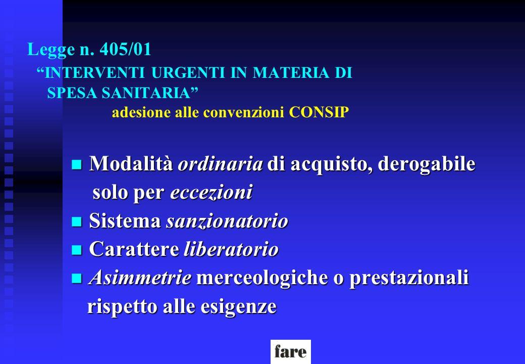 Legge n. 405/01 INTERVENTI URGENTI IN MATERIA DI SPESA SANITARIA adesione alle convenzioni CONSIP n Modalità ordinaria di acquisto, derogabile solo pe