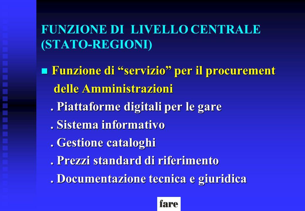FUNZIONE DI LIVELLO CENTRALE (STATO-REGIONI) n Funzione di servizio per il procurement delle Amministrazioni delle Amministrazioni. Piattaforme digita
